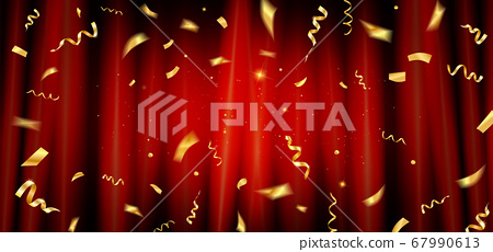 Red curtain with gold confetti 67990613