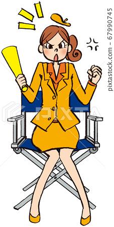 插圖手繪商業女性西裝導演製作擴音器椅子 67990745