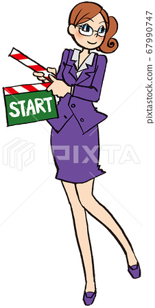 Illustration hand drawn business woman suit clapperboard start 67990747