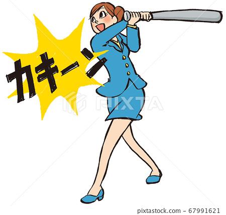 插圖手繪商業女性西裝棒球 67991621