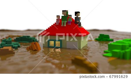 江水淹沒房屋正在等待救援洪水災害CG 67991629