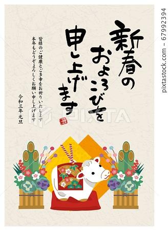 2021年新年賀卡牛年To年鈴牛雕像和Kadomatsu插圖 67992394