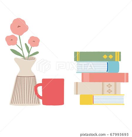 쌓인 책과 꽃과 커피 67993693