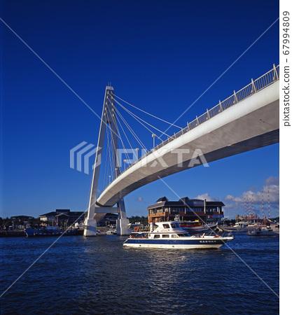 港口碼頭的船和橋樑 67994809