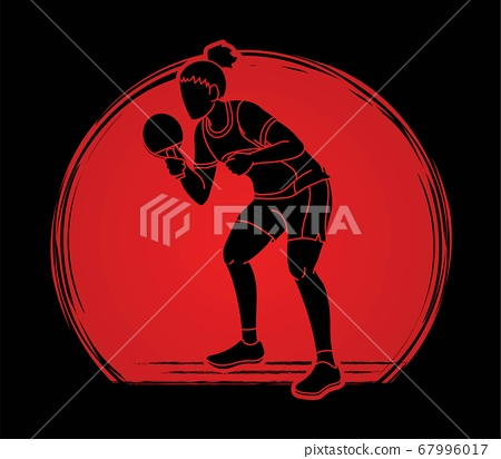 Ping Pong player, Table tennis action cartoon graphic vector 67996017