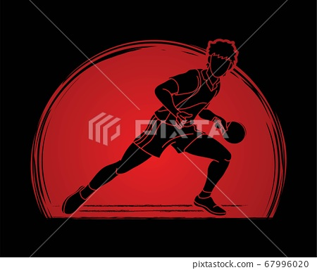 Ping Pong player, Table tennis action cartoon graphic vector 67996020