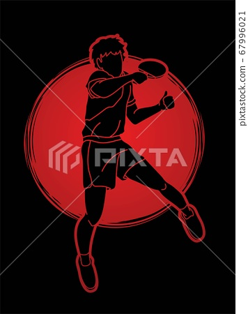 Ping Pong player, Table tennis action cartoon graphic vector 67996021