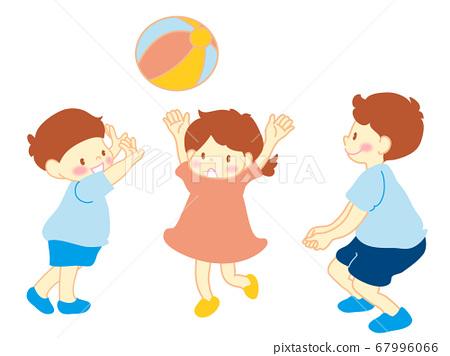 父母和孩子玩球 67996066