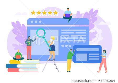 Business content for flat internet marketing concept vector illustration. Teamwork at digital media technology at background 67996084