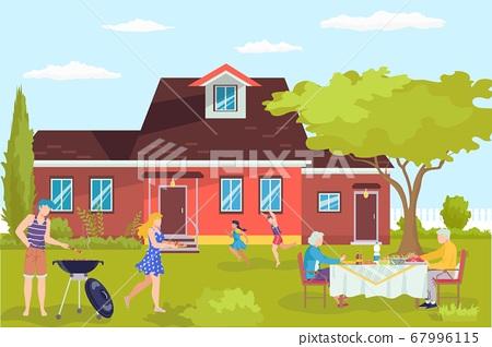 Barbecue at flat home, cartoon bbq character vector illustration. Cooking at outdoor house yard, family backyard picnic. 67996115