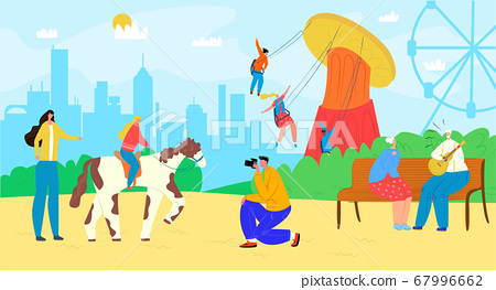 Family in amusement park with carousel, fun entertainment at fairground vector illustration. Happy man woman children at fair 67996662