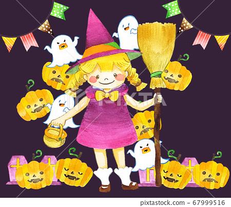 萬聖節的可愛女巫女孩 67999516