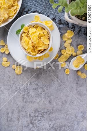 玉米片 甜點 早餐 湯匙 頂視圖 corn flakes with milk コーンフレーク 牛乳 68000600