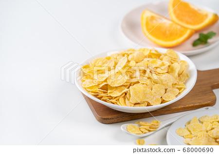 玉米片 甜點 早餐 湯匙 牛奶 corn flakes with milk コーンフレーク 牛乳 68000690