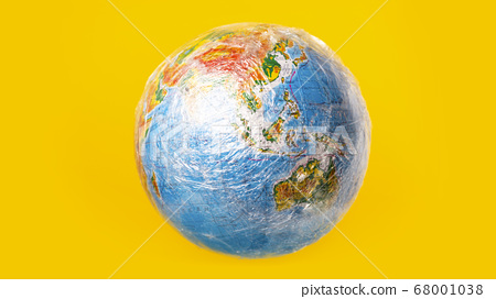 The planet earth is wrapped in plastic. Ecological disaster concept 68001038