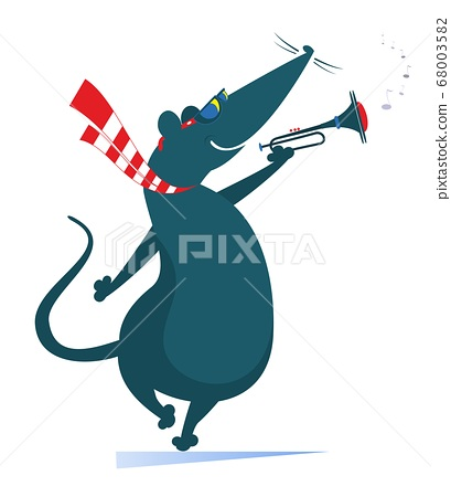 Cartoon rat or mouse a trumpeter is playing music illustration. Rat or mouse playing trumpet isolated on white 68003582