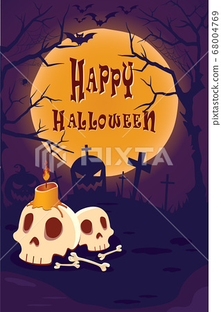 Happy Halloween Poster with cobwebs, bones and tree under the moonlight. on Purple background.  68004769