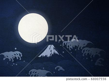 滿月中秋月大月見日式插畫 68007556
