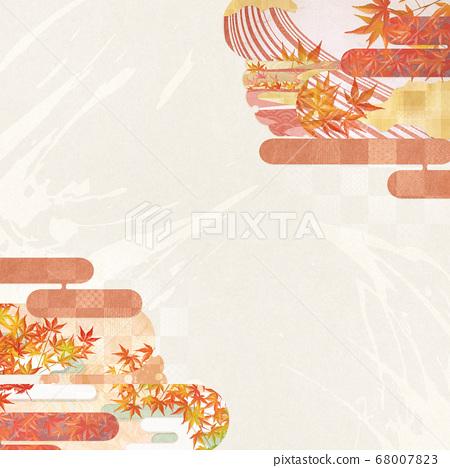 感受日本紙秋和秋葉質地的背景插圖 68007823