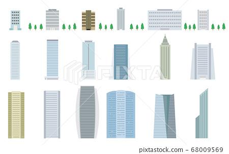 Urban building vector illustration material set 68009569