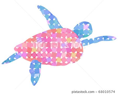 Random tiled swimming sea turtle 68010574