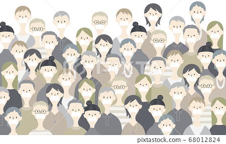 인파에 마스크를 착용하는 사람들의 일러스트 68012824