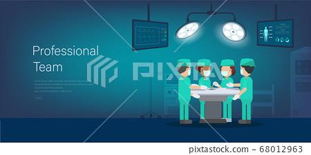Professional surgeon team banner 68012963
