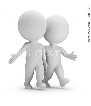 3d small people - two walking friends 68013782