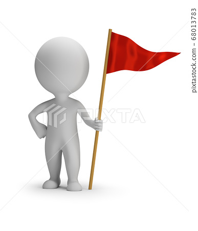 3d small people - red flag 68013783