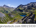 The Lac Bleu in Chianale, mountain lake in the italian alps 68015030