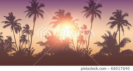 romantic palm tree silhouette background on a sunny day summer holiday design 68017840