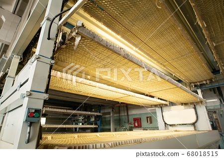 Inside view of dryer machine for painting chipboard parts in factory workshop 68018515