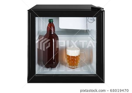 small fridge bar, inside the bottle and glass full 68019470