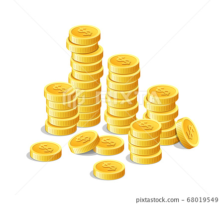 Gold coins, money cash finance investment isolated 68019549