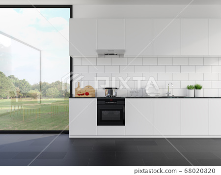 Minimal style whte kitchen counter with nature view 3d render 68020820