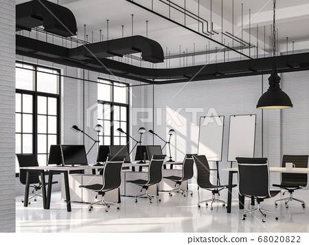 Modern loft style office with black ans white 3d render 68020822