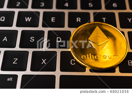 Golden ether coins or Ethereum network exchange on 68021838