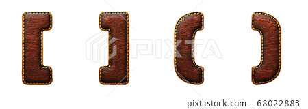 Set of symbols left, right bracket and perentheses made of leather. 3D render font with skin texture isolated on white background. 68022883