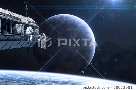 Planet in deep space. Astronauts, space station 68023981