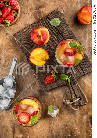 Cold drink peach strawberry Summer lemonade top 68027656