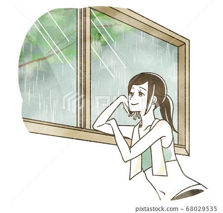 비오는 날에 창 밖을 바라 보는 여성 68029535
