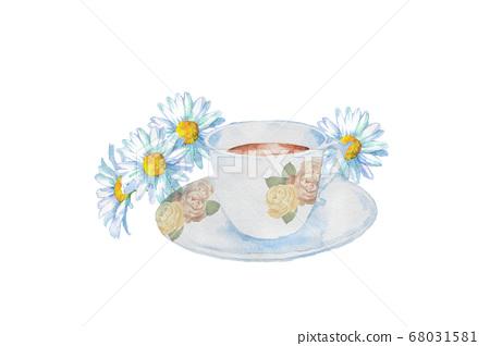 茶杯和花水彩 68031581