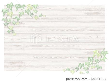 """淺色火焰""""常春藤植物""""手繪淺色常春藤在白色的木背景旁邊 68031895"""