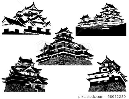 國寶城堡5城堡黑白剪影(姬路城,松本城,犬山城,彥根城,松江城) 68032280