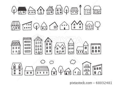 手繪房子/城市景觀圖 68032481
