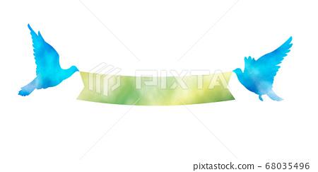 水彩觸摸藍鳥和綠絲帶 68035496