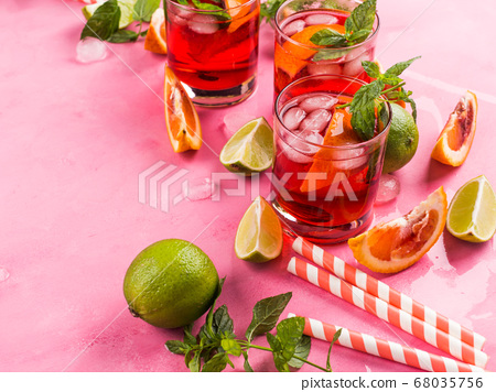 Fresh iced red cocktail with blood orange 68035756
