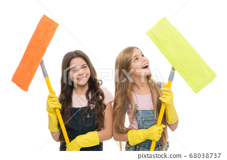 Overall cleaning. Cheerful small cleaning ladies. 68038737