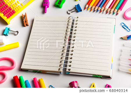 Back to school concept. Open notebook with school 68040314
