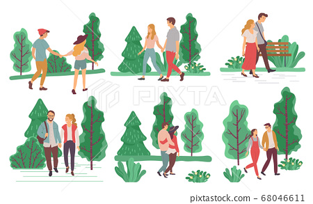 Couples on Romantic Date Walking in Summer Park 68046611